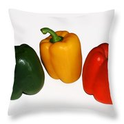 Three Bell Peppers Throw Pillow