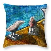 Three Birds Blue Throw Pillow