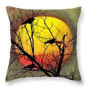 Three Blackbirds Throw Pillow
