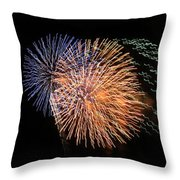 Three Bursts Of Fireworks Four July Two K Ten Throw Pillow