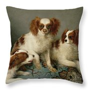 Three Cavalier King Charles Spaniels On A Rug Throw Pillow