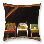 Three Chairs With A View Throw Pillow