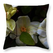 Three Clematis More Throw Pillow