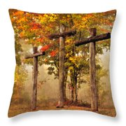 Three Crosses Throw Pillow