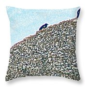 Three Crows And Oyster Shells Throw Pillow