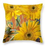 Three Daisy's And Butterfly Throw Pillow