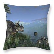 Three Estemmenosuchus Mirabilis Face Throw Pillow