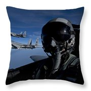 Three F-15 Eagles Fly High Throw Pillow