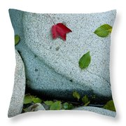 Three Fallen Leaves Lie On A Rock Throw Pillow