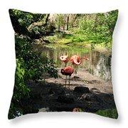 Three Flamingos Throw Pillow