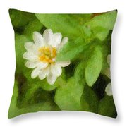 Three Flowers Throw Pillow