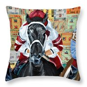 Three In The Lead Throw Pillow