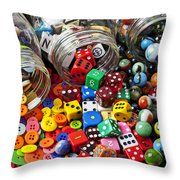 Three Jars Of Buttons Dice And Marbles Throw Pillow