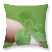 Three Leaf Clover In A Hand Throw Pillow