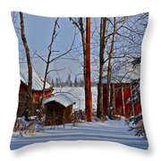 Three Little Houses Throw Pillow