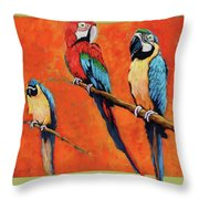 Captive Birds And Abstracted Rain Forest   Throw Pillow