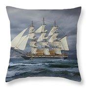 Three Masted Ship Throw Pillow