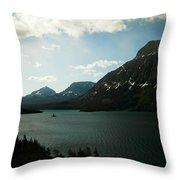 Three Mountains On Many Glacier Lake Throw Pillow