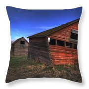 Three Old Red Granaries On The Alberta Throw Pillow