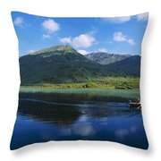 Three People On A Boat In The Lake Throw Pillow