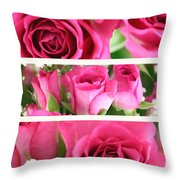 Three Pink Roses Landscape Throw Pillow