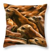 Three Pups Throw Pillow