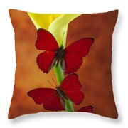Three Red Butterflies On Calla Lily Throw Pillow