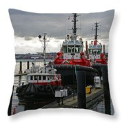Three Red Tugs Throw Pillow