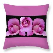 Three Roses Painterly Throw Pillow