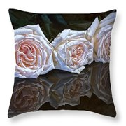 Three Roses Still Life Throw Pillow