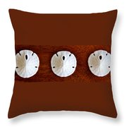 Three Sand Dollars Throw Pillow