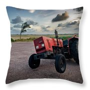 Three Wheeled Tractor Throw Pillow
