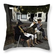 Three Women And The Man Throw Pillow