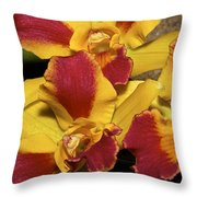 Three Yellow And Red Orchids Throw Pillow