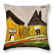 Three Yellow Houses With Picture Windows Throw Pillow
