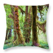 Through Moss Covered Trees Throw Pillow