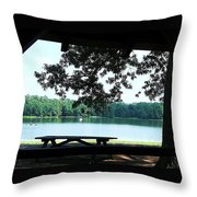Through The Pavilion At Trap Pond State Park Delaware  Throw Pillow