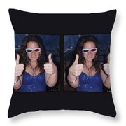 Thumbs Up - Gently Cross Your Eyes And Focus On The Middle Image Throw Pillow