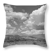 Thunderstorm Clouds Boiling Over The Colorado Rocky Mountains Bw Throw Pillow