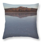 Thunupa Volcano Refelcted On The Salar Throw Pillow