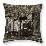 Thurmond Wv Train Sepia Throw Pillow