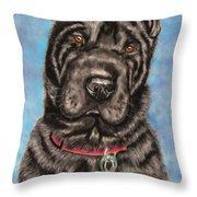 Tia Shar Pei Dog Painting Throw Pillow