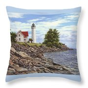 Tibbetts Point Lighthouse Throw Pillow by Richard De Wolfe