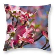 Tickled Pink Dogwood Throw Pillow