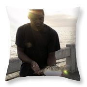 Tickling His Belly Throw Pillow