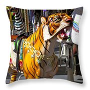 Tiger Carousel Ride Throw Pillow