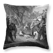 Tiger Hunt, 19th Century Throw Pillow