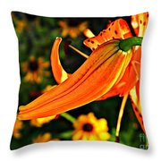 Tiger Lily Bud And Bloom Throw Pillow