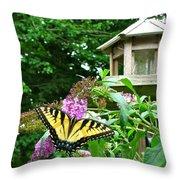 Tiger Swallowtail By The Bird Feeder  Throw Pillow