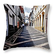 Tiled Street Of Ponta Delgada Throw Pillow